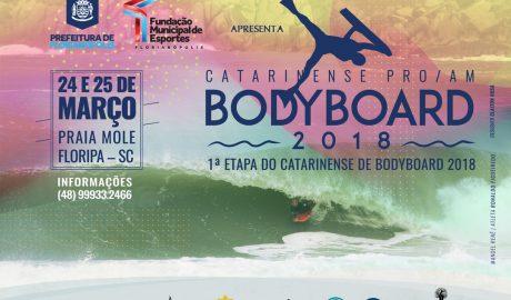 Capital do estado comemora aniversário com abertura do circuito estadual Estão abertas as inscrições da 1ª Etapa do Catarinense de Bodyboard 2018,que será realizada nos dias 24 e 25 de marco, na Praia Mole em Florianópolis.