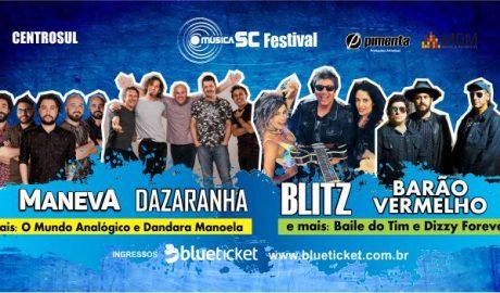 """Está confirmada para os dias 29 e 30/06 e 01/07 a 2ª edição do Música SC, no Centrosul em Florianópolis. Com o slogan """"Viva o Poder da Música"""", o evento será dividido em duas etapas: a Feira de música destinada à empresários do setor e que já possui 60 expositores confirmados, configurando-se como a maior do Brasil na atualidade; e o Festival de Música aberto ao público com nomes como Dazaranha, Barão Vermelho e Blitz entre os confirmados. Para os shows os ingressos já estão à venda na Blueticket."""
