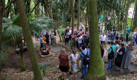 Trilha cultural. Na terça, dia 15, e na quinta-feira, dia 17, o grupo Barbotina promove aCapacitação para Visitas Guiadas, caminhada cultural para condutores culturais, professores, arte-educadores, mediadores, estagiários, noHorto Botânico Edith Gaertner, das 10h às 12h, e, das 14h às 16h. As ações ocorrem na Fundação Cultural de Blumenau, são gratuitas e a inscrição pode ser feita pelogatosdeedith@gmail.com. O projetoOs Gatos de Edithé patrocinado peloFundo Municipal de Apoio à Cultura de Blumenau.