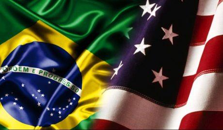 Bandeira do Brasil e EUA - Turismo on line
