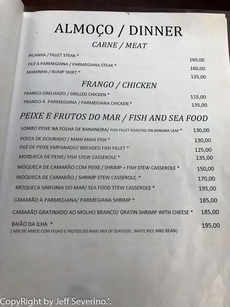Cardápio -Turismo em Noronha