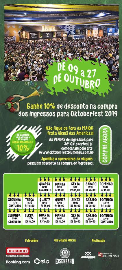 A Oktoberfest Blumenau ocorrerá de 9 a 27 de outubro no Parque Vila Germânica em Blumenau/SC