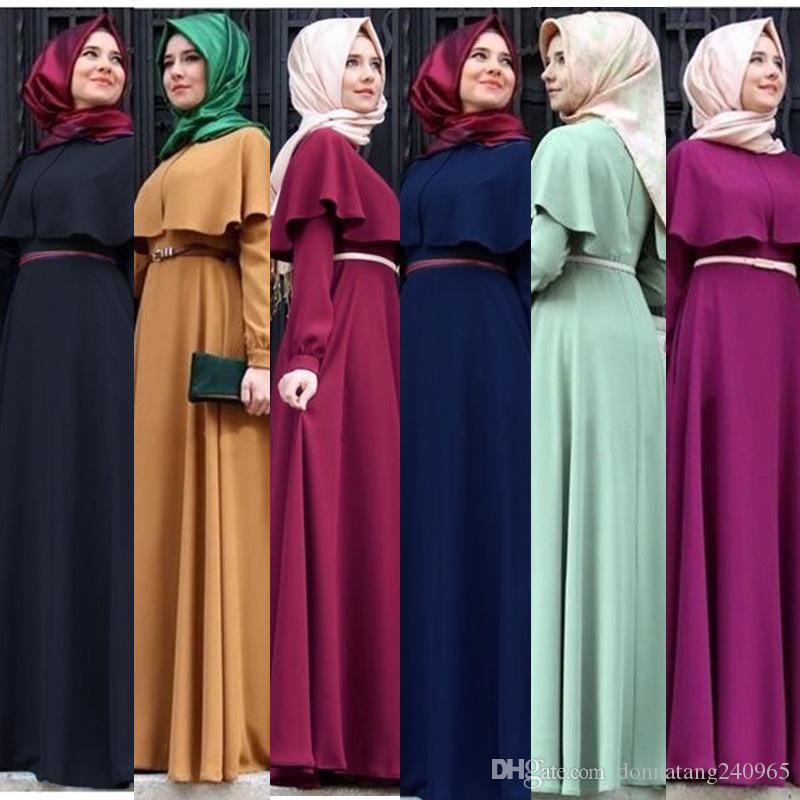 Mulheres muçulmanas abaya Estilo Étnico Mulheres Roupas Muçulmanas O-pescoço Capa Sólida Solto Manga Comprida Maxi Vestidos