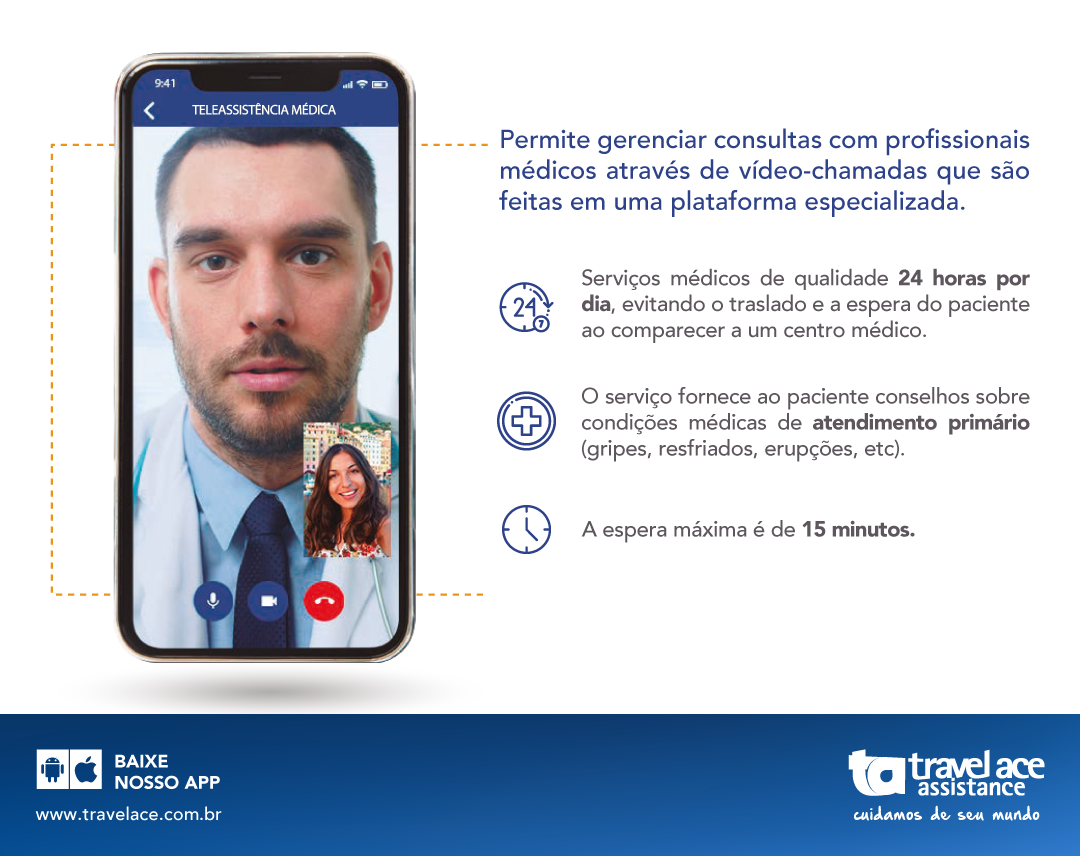 TRAVEL ACE ANUNCIA ASSISTÊNCIA MÉDICA POR VÍDEO TRANSFERÊNCIA