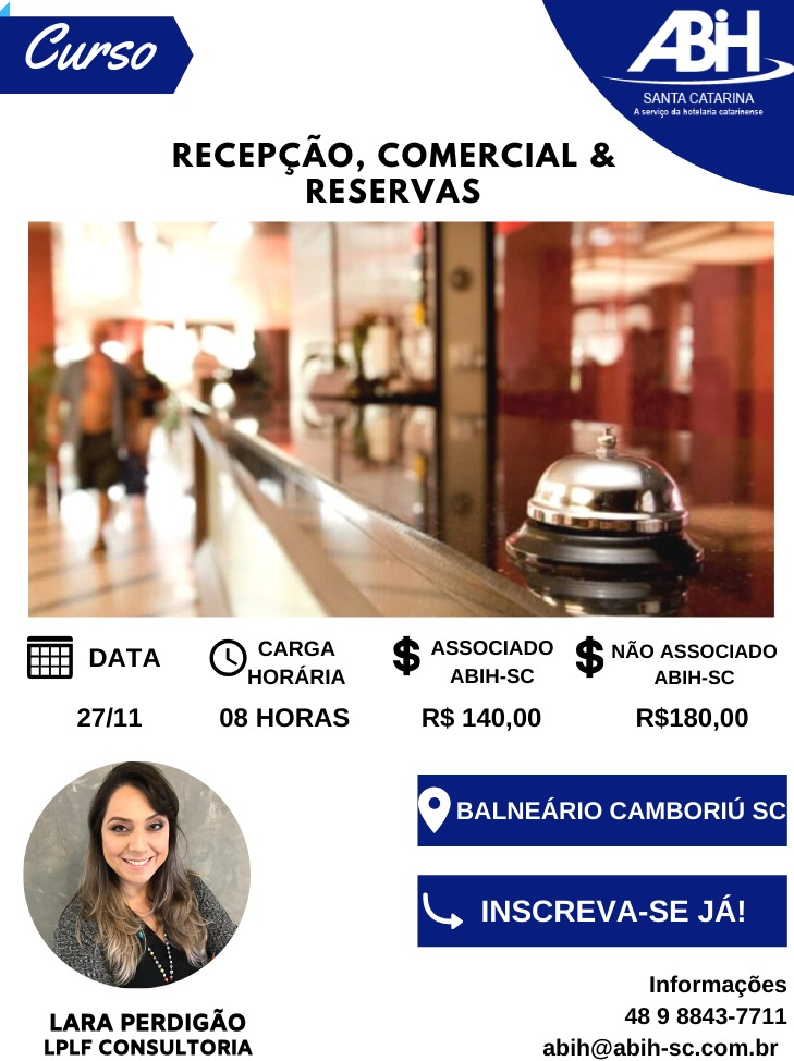 Curso em Balneário Camboriú SC – Recepção, Comercial e Reservas