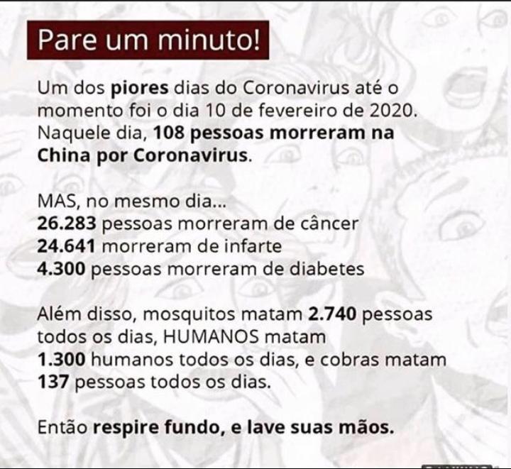 Corona Vírus - Para um minuto